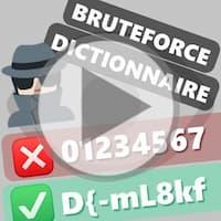 Les textes « Bruteforce », « Dictionnaire » sont affichés avec un exemple de mauvais mot de passe « 01234567 » et un exemple de bon mot de passe « D{-mLkf »