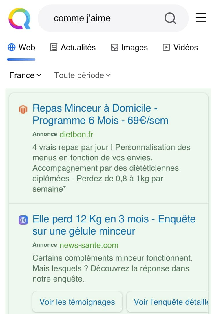 Copie d'écran d'une recherche sur Qwant du terme «comme j'aime» avec deux publicités de concurrents en premier
